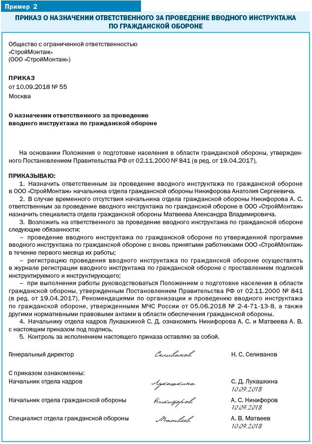 приказ об организации проведения вводного инструктажа по ГО 2019