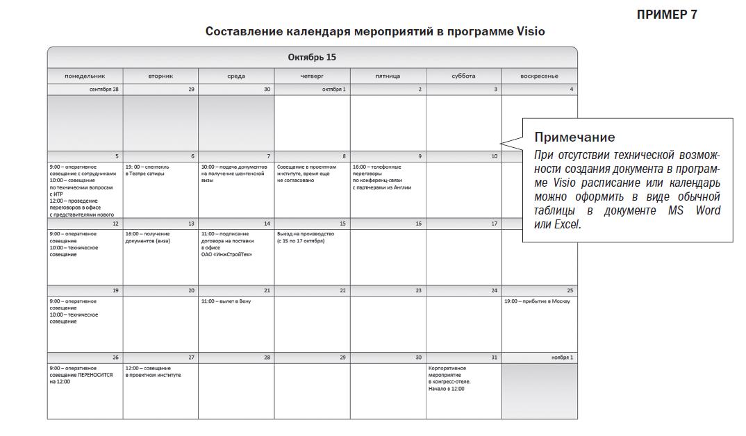 Составление календаря мероприятий в программе Visio