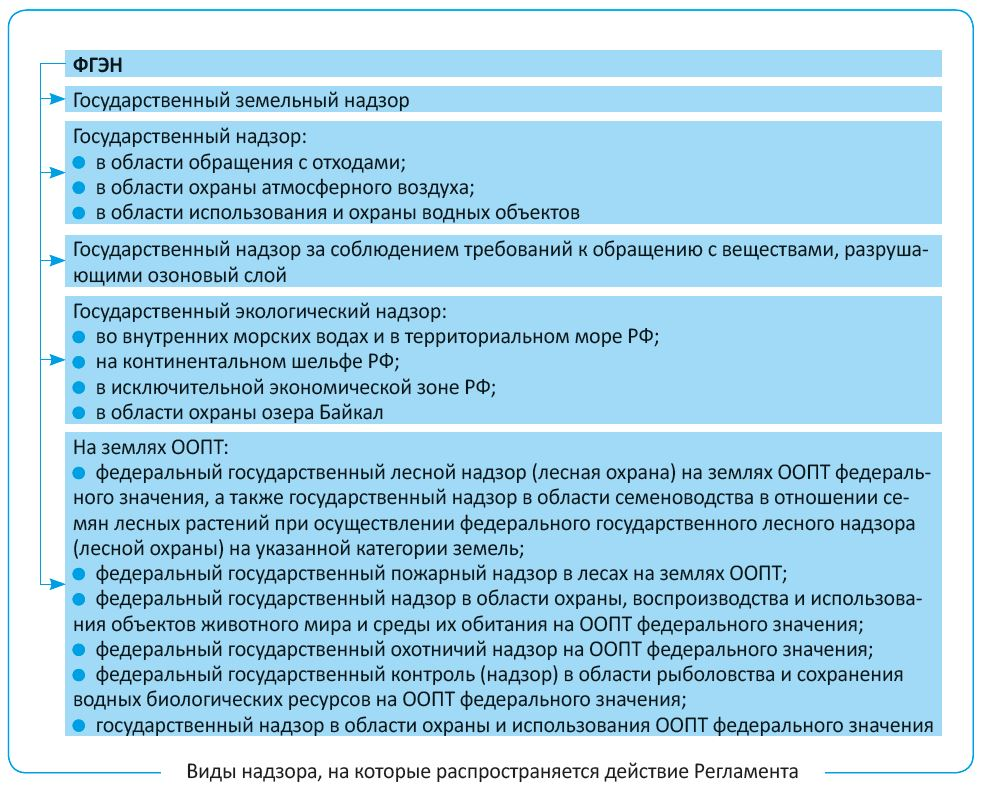 Виды надзора, на которые распространяется действие Регламента